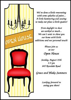Coolnew the housewarming party invitation wording free invitations lots of unique open house party invitations with chandelier and chair at invitationsbyu stopboris Image collections