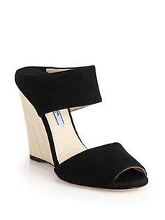 Prada - Wooden-Wedge Suede Mule Sandals