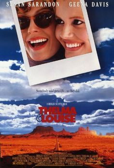 Thelma & Louise - 1991 film co-produced and directed by Ridley Scott and written by Callie Khouri.Stars Geena Davis as Thelma and Susan Sarandon as Louise, and co-stars Harvey Keitel. Michael Madsen and Brad Pitt play supporting roles. The film became an Thelma Louise, Thelma And Louise Movie, Streaming Movies, Hd Movies, Movies To Watch, Movies Online, Movies 2019, Hd Streaming, Brad Pitt