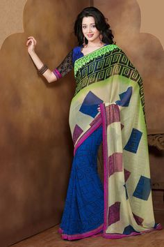 casual printed blue saree