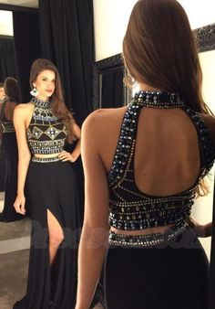 2016 New Arrival Long Front Split Halter Prom Dresses,2 Pieces Beading Prom Gowns,Pretty Sparkly Black Prom Dress,Evening Dresses http://www.luulla.com/product/586887/2016-new-arrival-long-front-split-halter-prom-dresses-2-pieces-beadig-prom-gowns-pretty-sparkly-black-prom-dress-evening-dresses