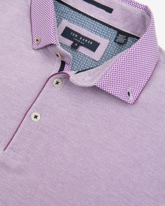 Woven collar polo shirt - Purple | Tops & T-shirts | Ted Baker
