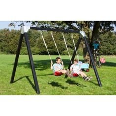 Schaukel aus Holz für Kleinkinder Luxus grundiert + 2 Sitze
