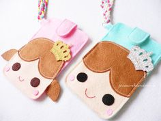 Felt iphone case in prince/princess/pudding or duck with long strap.  : : Unique gift for yourself , family and friends. : :  This iphone case made with