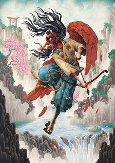 We created a series of characters that were inspired by legend and folklore from Russia, Japan and Ancient Persia.  We illustrated Baba Yaga, a Tengu and the Manticore, referencing the traditional art styles of their respective regions.
