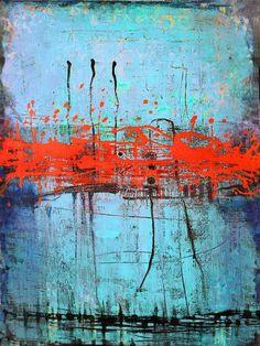 """Art peinture abstraite peinture peinture acrylique peinture originale '' rouge Interruption'' 36 """"x 48"""" acrylique sur toile réalisée par L. Bronzini"""