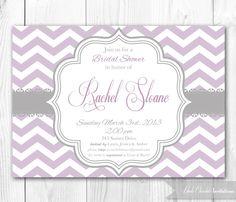 Bridal Shower Invitation  Chic Chevron in by HauteChocolateFavors