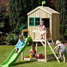 Fabulous TP FOREST COTTAGE with WAVY SLIDE TP WS Outdoor Play Equipment