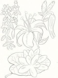 Plantillas de flores para bordar a mano                                                                                                                                                     Más