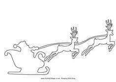 santa and his sleigh coloring pages | Santa Sleigh With Reindeer Template