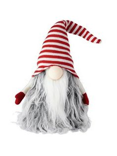 Small Santa 'Gonk' Christmas Doorstop/Decoration - Stripey Hat…