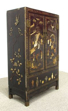 Pair of Chinese Hardstone Inlaid Lacquered Cabinets 5
