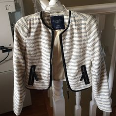 Blue and white striped American eagle blazer Fits an xs. Barely worn. It is nice for dressy occasions or work American Eagle Outfitters Jackets & Coats Blazers