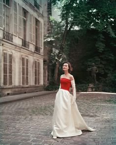 Red and White Satin Balenciaga Gown in Paris Courtyard