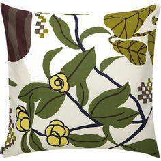 "Marimekko Ikkunaprinssi Beige and Green 20"" Pillow in Pillows | Crate and Barrel"