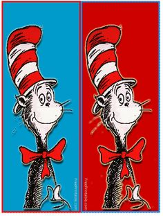 a page of Dr. Seuss birthday ideas - strawberry and banana cat in the hat hat