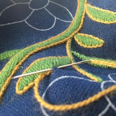 Wool embroidery on plain weave wool fabric. Vest-Oppland bunad. Made by Mona Øvregård in Bunadsystua Liv Laga.