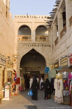 The restored Souq Waqif with mud rendered shops and exposed timber beams, Doha, Qatar,
