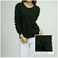 MOON COLLECTION Black Spikey Sweater A rockin cool spiked sweater by the very anticipated  Moon Collection.  It gives you the rocker and chic look all in one!  3/4 sleeves (as seen on the picture) they come about 3 to 4 inches from wrists. Such a great style to rock out in! New with tags. Great for gifts!  I have 2 Medium and 1 Large. Moon Collection Sweaters