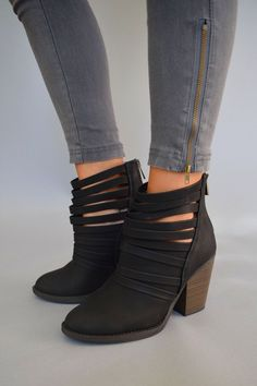 """** GG GEM ALERT ** Make a statement with your heels! The new """"Mile High Strappy Booties"""" are the perfect way to finish your outfit for an evening out with friends. Paired with a dress or with skinny jeans, these booties always looks amazing!  These fun booties are paired with our """"Sierra Moto Leggings"""" in dark grey!"""