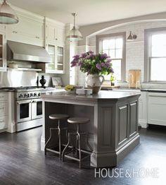 Designer Nam Dang-Mitchell's kitchen with Cortona Azul limestone counters