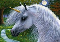 Unicorn horse moon limited edition aceo print art