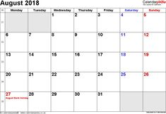 calendar august 2018 uk bank holidays excel pdf word calendar 2018 with holidays 2018 calendar