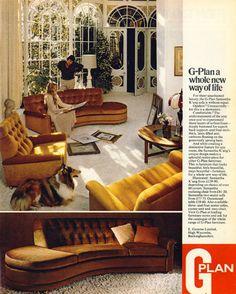 G PLAN a whole new way of life G Plan Furniture, 1970s Furniture, Home Furniture, Modern Furniture, Vintage Interiors, Vintage Home Decor, Art Interiors, 1970s Decor, Retro Interior Design