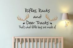 Rifles Racks and Deer Tracks  Decal  - Boys room decal - Kids Decals - Decals - Vinyl decals - Hunting Decals - Deer Humor on Etsy, $24.00