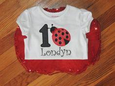 Ladybug personalized birthday shirt with tutu available