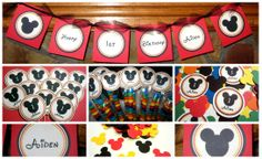 Birthday Party Idea & Decorations ~ Mickey Mouse Disney 1st Birthday Party Themed First Birthday Party. Handmade custom banner, cupcake toppers, M & M treat bags & matching confetti for the little boy celebrating his first birthday! Visit my blog http://missymadeit.blogspot.com for more custom party ideas!