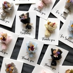 Personalized Dried Flower Cards (Mini bouquet - Calligraphy) These personalized hand-made dried flow Dried Flower Bouquet, Dried Flowers, Wax Tablet, Natural Air Freshener, Scented Sachets, Scented Wax, How To Preserve Flowers, Handmade Ornaments, Flower Cards