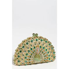 Natasha Couture Peacock Clutch ($298) ❤ liked on Polyvore featuring bags, handbags, clutches, green, purses, сумки, chain handle handbags, peacock purse, green clutches and natasha couture clutches