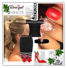 """Rosegal 9"" by followme734 ❤ liked on Polyvore featuring blackandwhite, rosegal, sexyandfab and redshoesrednails"