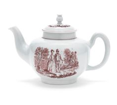 LOT 220 A rare Worcester teapot and cover, circa 1755-58 Of 'Scratch Cross' type and of globular form, the finial of very unusual shape, printed in brick red with 'La Cascade', a fashionable couple walking beside a fountain, a musician and two lovers in the background, signed 'R Hancock' under the fountain, the reverse with a man playing pipes to a reclining lady, within simple red line borders, 12.5cm high, incised cross on underside below handle (restored crack, chipped) (2)