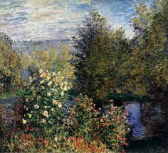 A Corner of the Hoschedé Garden at Montgeron. Monet. 1876. Oil on canvas. 175 x 194 cm. The Hermitage. St Petersburg.