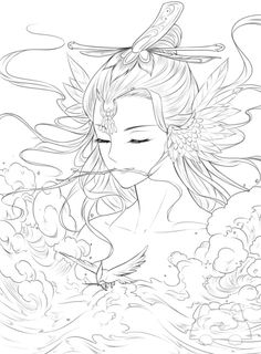 Reup By @An_Nhiên lúc 7:09pm 22/11 tại Việt Nam Free Adult Coloring Pages, Cool Coloring Pages, Coloring Books, Dark Art Drawings, Amazing Drawings, Beauty And The Beast Art, Anime Lineart, Fairy Coloring, Anime Sketch