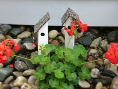 Tiny deco bird houses made by Hubby.