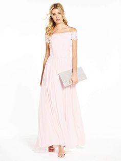 V by Very Bridesmaid Pleated Bardot Maxi Dress - Blush. V by Very  Bridesmaid Pleated Bardot Maxi Dress A beautiful dress to accompany a  blushing bride, ...