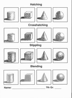 formative assessment option - shading work sheet (blending/gradual, hatching, cross-hatching, stippling).