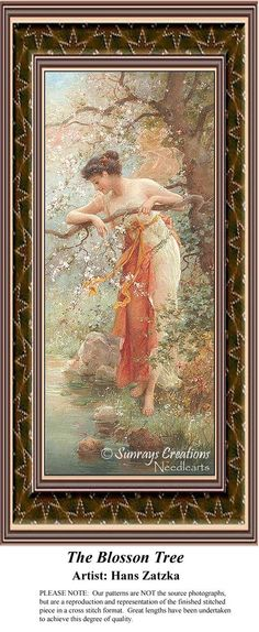 The Blossom Tree, Hans Zatzka Counted Cross Stitch Pattern, Fine Art Counted Cross Stitch Pattern Fine Art Counted Cross Stitch Pattern also available in Kit and Digital Download #pinterestcrossstitchpattern #pinterestgifts #fineartcrossstitchpatternsPatternPattern