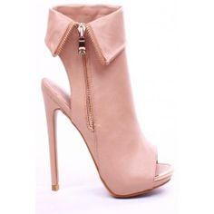 NUDE FAUX LEATHER PEEP TOE OUTER ZIPPER PLATFORM BOOTIES,Womens Booties-Sexy Booties,Cheap Bootie Heels,Spiked Booties,Lace Up Booties,Wedge Booties,Platform Boots,Platform Booties,Leopard Print Booties,Suede Ankle Booties,Leather Booties at LolliCouture.com