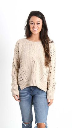 Fate Cable Knit Sweater for Women in Sand FTJ692