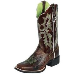 Look! These cow-girl boots have GREEN in them!