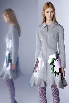 Mary Katrantzou   Pre-Fall 2016   03 Grey zipped long sleeve coat-dress