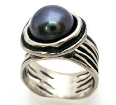 Black Pearl Sterling Silver Ring Israel Signed B Artisan Made Wide Size 7 #B #Pearl