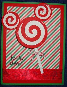 Disney Mickey Head Sucker Christmas card-swirl from Paisley cricut cart Disney Christmas Cards, Mickey Mouse Christmas, Disney Cards, Christmas Scrapbook, Xmas Cards, Holiday Cards, Disney Holidays, Mickey Halloween, Christmas Sayings