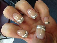 Glitter, silver, manicure, rhinestone, nails