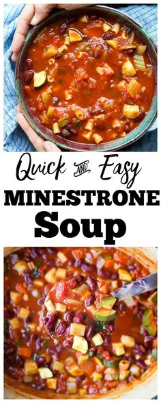 SO easy and healthy!  This is the best ever Minestrone Soup recipe!! I love this healthy and comforting soup recipe so much! Great for lunch or dinner.