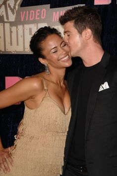 A look back at the love story of high school sweethearts-turned-entertainment-power-couple, singer Robin Thicke and actress Paula Patton, who just announced plans to separate after nine years of marriage. Black Couples, Couples In Love, Power Couples, Beautiful Love, Beautiful Couple, Paula Patton, Christina Milian, Christina Hendricks, Robin Thicke